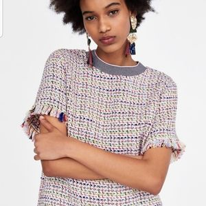 Zara Frayed Tweed Top